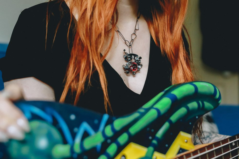 Guitar Distortion Necklace Ruby Red