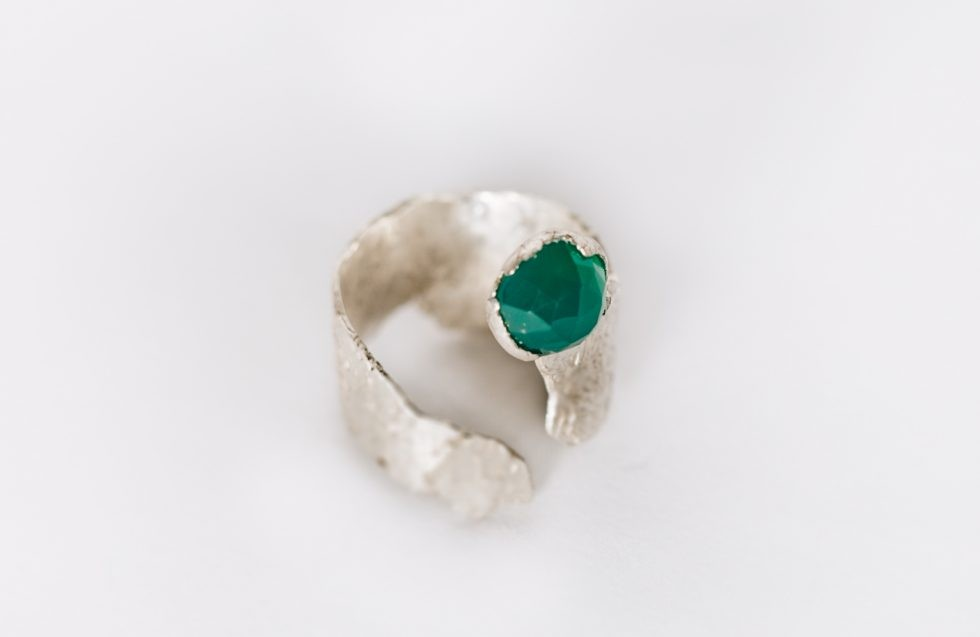 Guitar Distortion Ring silver with green chrysoprase