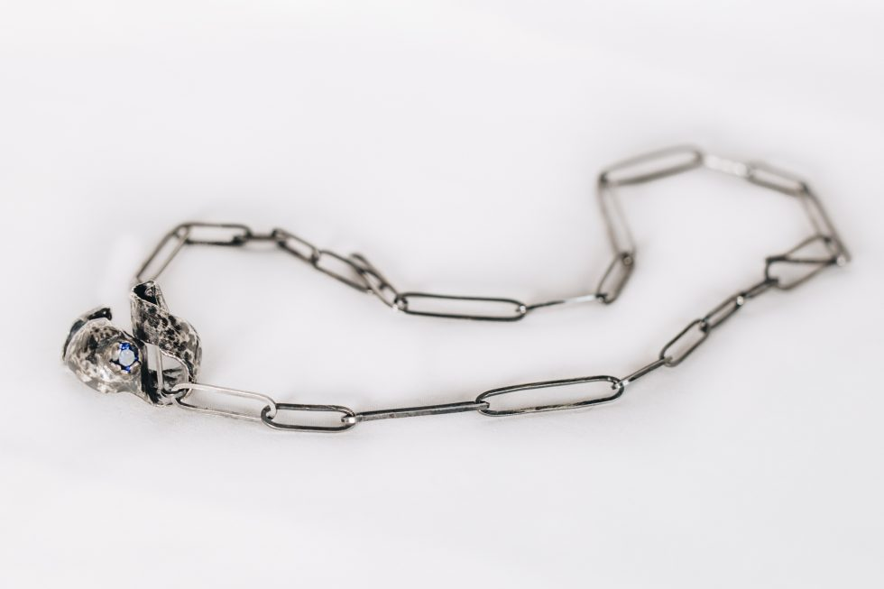 Silver necklace with handmade chain