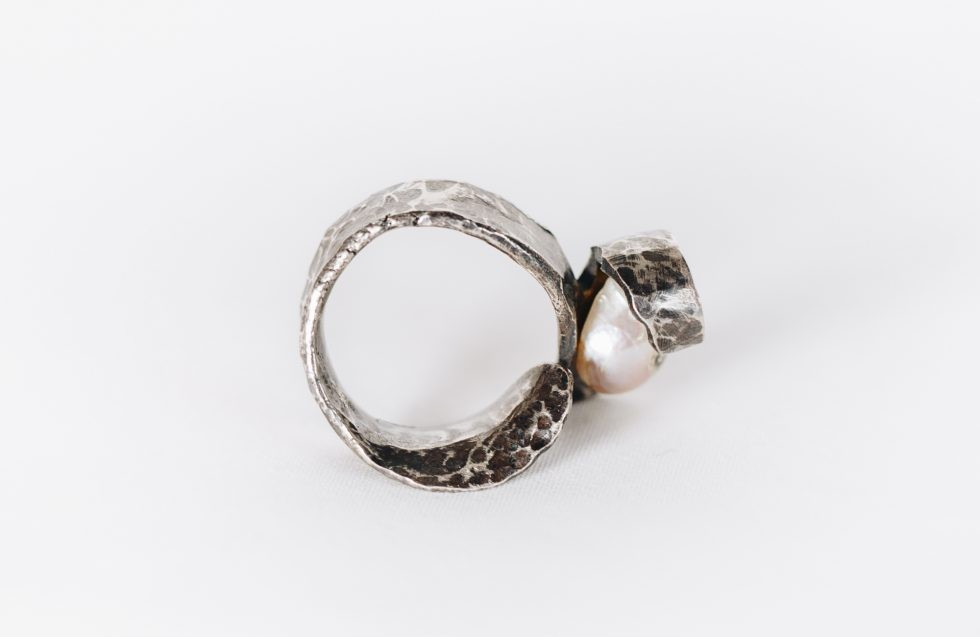 Pearl Ring in Silver: Guitar Distortion Series no.38
