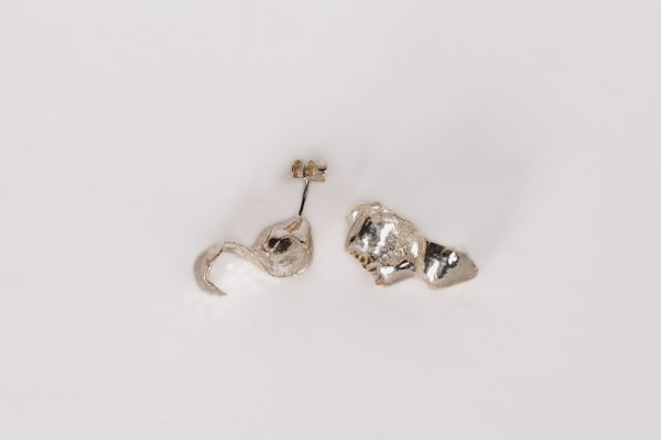 Silver Curl Earrings image on a white background