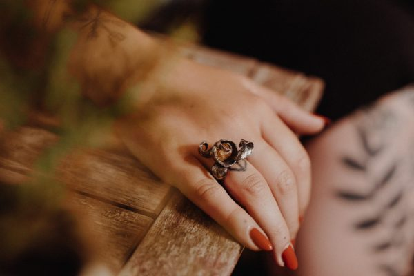Golden Topaz Silver Ring modeled by a woman with pumpkin organge nail polish