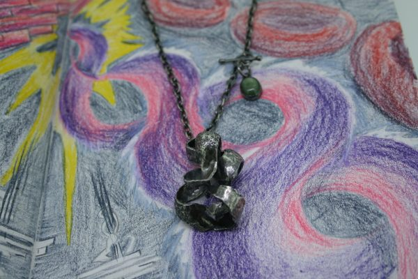 t-bar silver necklace on sketch book background product image