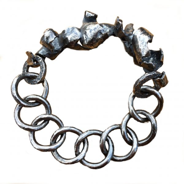 product image silver bracelet with chunky curbchain and ribbon like sculptural silver detail