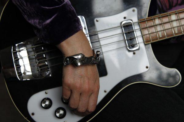 Silver Bangle Statement Bracelet model shot