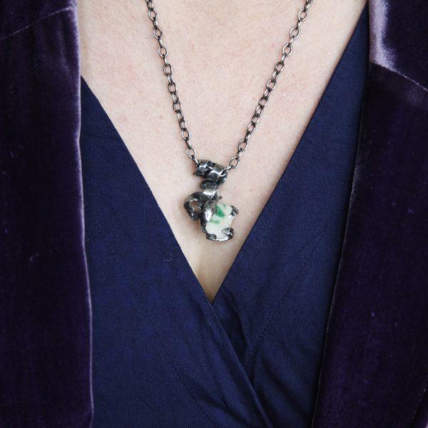 Emerald in Quartz Silver Necklace