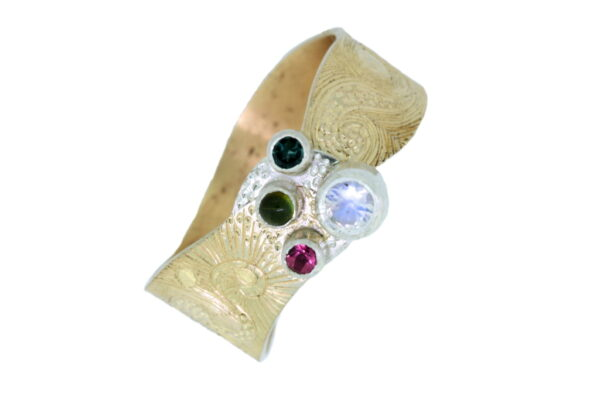 Moonstone Tourmaline and Gold Ring